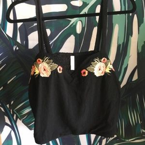 Black Crop Top with Floral Embroidery!